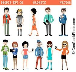 ensemble, de, gens, à, gadgets.
