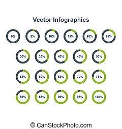 ensemble, de, graphique circulaire, infographic, elements., 0, 5, 10, 15, 20, 25, 30, 35, 40, 45, 50, 55, 60, 65, 70, 75, 80, 85, 90, 95, 100 cent