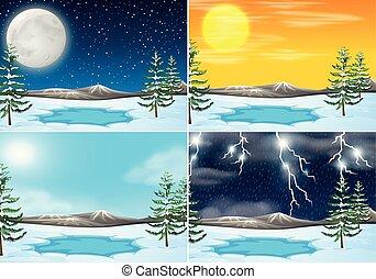 ensemble, de, hiver, extérieur, scène