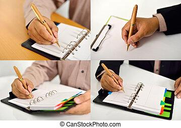 ensemble, de, homme affaires, écriture