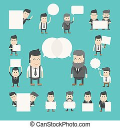 ensemble, de, homme affaires, dans, conversation, discuter,...