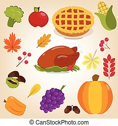 ensemble, de, icônes, pour, thanksgiving, jour