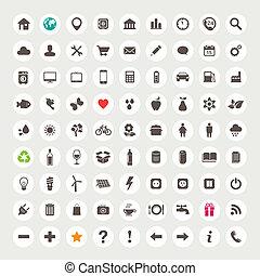 ensemble, de, icônes toile