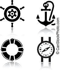 ensemble, de, icônes voyage