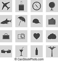 ensemble, de, icônes, voyage, vecteur
