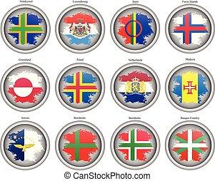 ensemble, de, icons., drapeaux, de, les, europe.