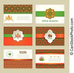 ensemble, de, indien ethnique, bannières, dans, national,...