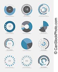 ensemble, de, info-graphic, graphiques circulaires