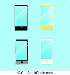 ensemble, de, intelligent, téléphone, icônes