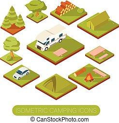 ensemble, de, isométrique, camping, icônes