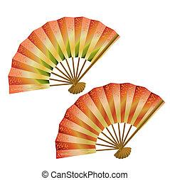 ensemble, de, japonaise, ventilateurs