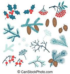 ensemble, de, joyeux noël, stylisé, hiver, branches.