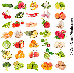 ensemble, de, légumes frais, et, fruits