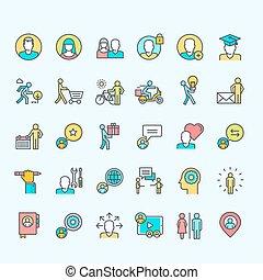 ensemble, de, ligne, couleur, gens, icônes