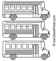 ensemble, de, ligne, icônes, école, buses.