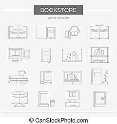 ensemble, de, ligne, icônes, pour, a, bookstore.
