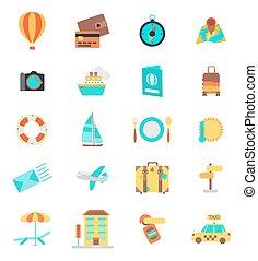 ensemble, de, ligne mince, voyage, icons., couleur, version., vecteur, illustration
