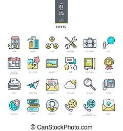 ensemble, de, ligne, moderne, couleur, icônes