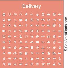 ensemble, de, livraison, icônes simples