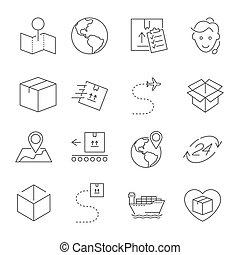 ensemble, de, livraison paquet, apparenté, vecteur, ligne, icons., editable, coup