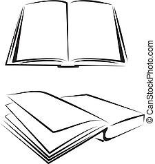 ensemble, de, livres