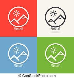 ensemble, de, logos, à, alpes suisses