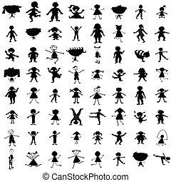 ensemble, de, main, dessiné, enfants, silhouettes