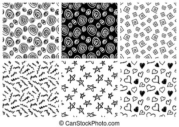 ensemble, de, main, dessiné, seamless, motifs
