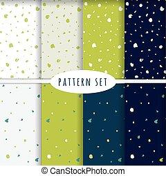 ensemble, de, main, dessiné, seamless, patterns.
