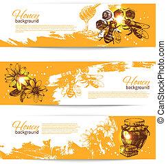ensemble, de, miel, bannières, à, main, dessiné, croquis,...