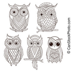 ensemble, de, mignon, owls.
