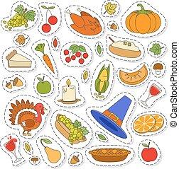 ensemble, de, mignon, thanksgiving, icônes