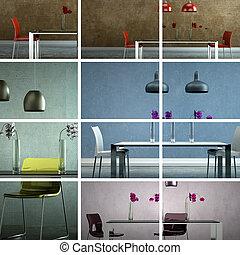 ensemble, de, moderne, salle manger, conception intérieur