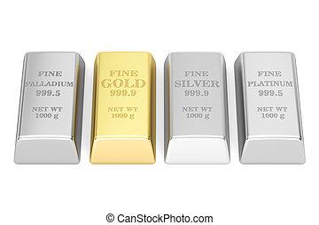 ensemble, de, monétaire, métaux, lingots, 3d, rendre