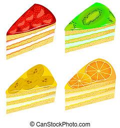 ensemble, de, morceaux, de, gâteau, à, kiwi, fraise, banane, et, orange