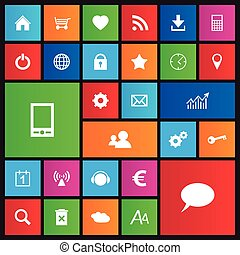 ensemble, de, navigation web, icônes, dans, métro, style, plat, conception, pour, ton, toile