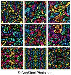 ensemble, de, neuf, hand-drawn, seamless, motifs