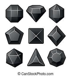 ensemble, de, noir, gemmes, pour, match3, games., vecteur
