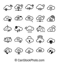 ensemble, de, nuage, icônes