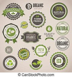 ensemble, de, organique, insignes, et, étiquettes