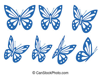 ensemble, de, papillons
