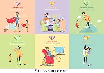 ensemble, de, paternité, thème, concept, illustrations.