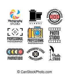 ensemble, de, photographie, et, studio photo, logo.