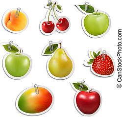 ensemble, de, plat, fruit, autocollants, à, papier, clips.,...