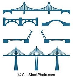 ensemble, de, ponts, mobile, cabble, manière, métal, et, pont pierre