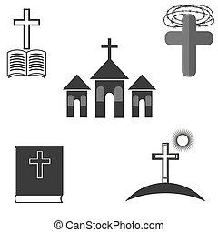 ensemble, de, religion, icônes