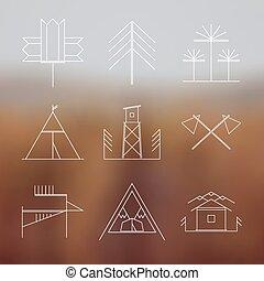 ensemble, de, retro, camping, icônes