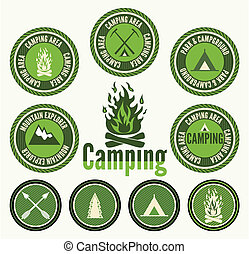 ensemble, de, retro, camping, insignes