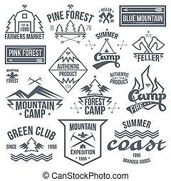 ensemble, de, retro, vendange, camping, insignes