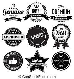 ensemble, de, retro, vendange, insignes, et, étiquettes